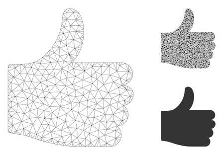 Mesh thumb up model with triangle mosaic icon. Wire carcass polygonal mesh of thumb up. Vector collage of triangle elements in different sizes, and color hues. Abstract flat mesh thumb up, Illusztráció