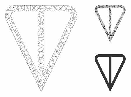 Mesh ton currency model with triangle mosaic icon. Wire carcass triangular mesh of ton currency. Vector mosaic of triangles in different sizes, and color shades. Abstract flat mesh ton currency,