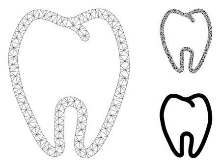 Mesh tooth model with triangle mosaic icon. Wire carcass triangular mesh of tooth. Vector collage of triangle parts in variable sizes, and color tints. Abstract flat mesh tooth, Illusztráció