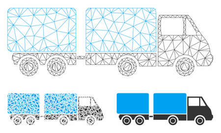 Mesh trailer model with triangle mosaic icon. Wire carcass triangular mesh of trailer. Vector mosaic of triangle parts in variable sizes, and color tinges. Abstract flat mesh trailer,