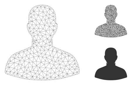 Mesh user model with triangle mosaic icon. Wire frame polygonal mesh of user. Vector composition of triangle parts in variable sizes, and color tinges. Abstract flat mesh user,