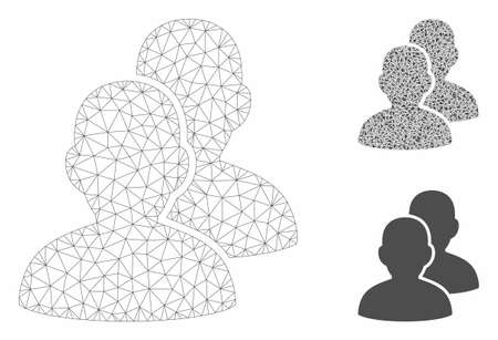 Mesh users model with triangle mosaic icon. Wire frame polygonal mesh of users. Vector composition of triangle parts in variable sizes, and color shades. Abstract 2d mesh users, Illusztráció