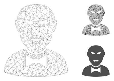 Mesh vampire model with triangle mosaic icon. Wire frame triangular mesh of vampire. Vector mosaic of triangle parts in various sizes, and color hues. Abstract 2d mesh vampire,