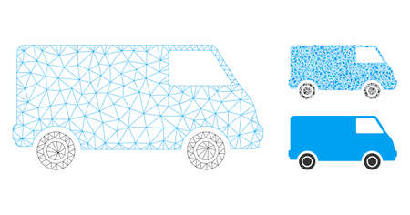 Mesh van model with triangle mosaic icon. Wire carcass triangular mesh of van. Vector composition of triangles in various sizes, and color tones. Abstract 2d mesh van, designed with triangular grid.