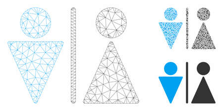 Mesh WC persons model with triangle mosaic icon. Wire carcass triangular mesh of WC persons. Vector composition of triangle parts in different sizes, and color tinges. Abstract flat mesh WC persons, Illusztráció