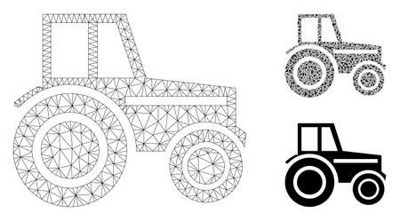 Mesh wheeled tractor model with triangle mosaic icon. Wire carcass polygonal mesh of wheeled tractor. Vector mosaic of triangle elements in variable sizes, and color tints.