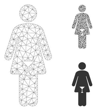 Mesh woman model with triangle mosaic icon. Wire frame polygonal mesh of woman. Vector mosaic of triangle parts in variable sizes, and color hues. Abstract flat mesh woman, Ilustração
