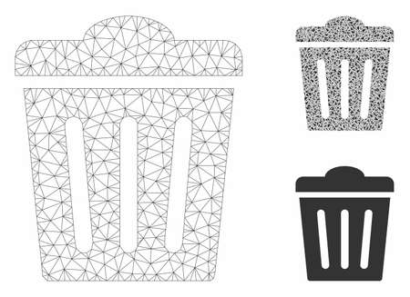 Mesh trash can model with triangle mosaic icon. Wire frame triangular mesh of trash can. Vector composition of triangle elements in various sizes, and color tinges. Abstract 2d mesh trash can,