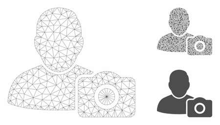 Mesh user photo model with triangle mosaic icon. Wire frame triangular mesh of user photo. Vector collage of triangle elements in different sizes, and color tints. Abstract 2d mesh user photo,