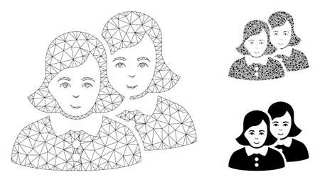 Mesh women model with triangle mosaic icon. Wire frame polygonal mesh of women. Vector mosaic of triangle elements in variable sizes, and color shades. Abstract 2d mesh women, created from triangles. Illusztráció
