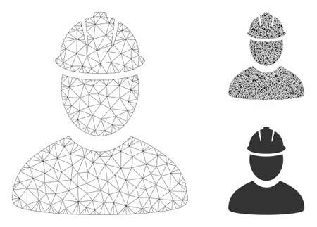 Mesh worker model with triangle mosaic icon. Wire frame polygonal mesh of worker. Vector mosaic of triangle parts in various sizes, and color shades. Abstract 2d mesh worker,