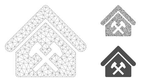Mesh workshop model with triangle mosaic icon. Wire carcass polygonal network of workshop. Vector mosaic of triangle parts in variable sizes, and color tones. Abstract 2d mesh workshop, Illustration