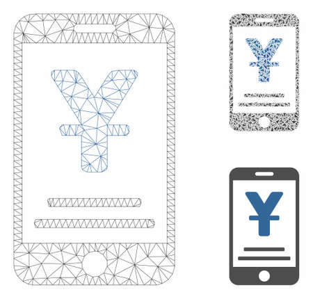 Mesh yuan mobile payment model with triangle mosaic icon. Wire frame polygonal mesh of yuan mobile payment. Vector mosaic of triangle elements in different sizes, and color tints.