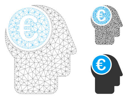 Mesh euro mind model with triangle mosaic icon. Wire carcass polygonal mesh of euro mind. Vector mosaic of triangle elements in variable sizes, and color tones. Abstract flat mesh euro mind, Banco de Imagens - 129019746