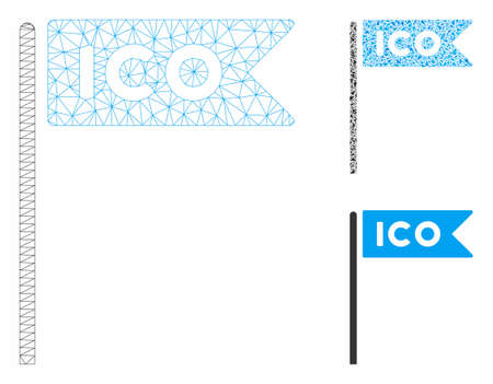 Mesh ICO flag model with triangle mosaic icon. Wire frame triangular mesh of ICO flag. Vector collage of triangle elements in different sizes, and color tones. Abstract flat mesh ICO flag, Ilustracja
