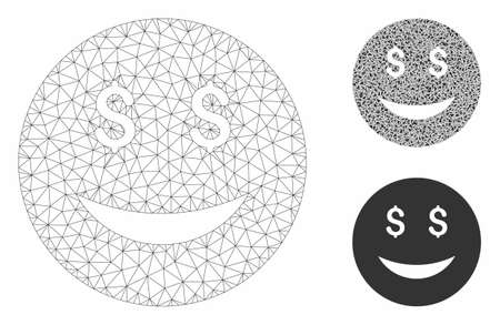 Mesh luck dollar smiley model with triangle mosaic icon. Wire carcass triangular mesh of luck dollar smiley. Vector composition of triangle parts in variable sizes, and color tinges.