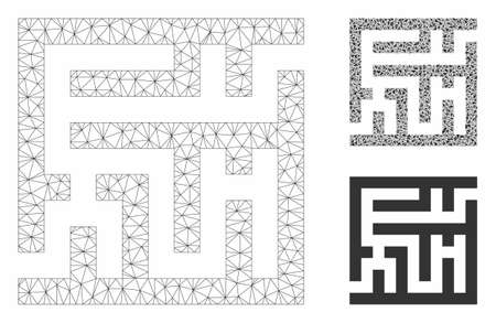 Mesh labyrinth model with triangle mosaic icon. Wire frame polygonal mesh of labyrinth. Vector mosaic of triangle parts in variable sizes, and color shades. Abstract flat mesh labyrinth,