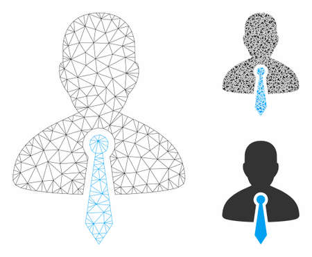 Mesh lawyer tie model with triangle mosaic icon. Wire carcass triangular mesh of lawyer tie. Vector mosaic of triangle parts in different sizes, and color shades. Abstract 2d mesh lawyer tie,