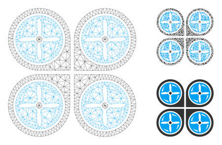 Mesh nanocopter screws rotaion model with triangle mosaic icon. Wire carcass polygonal mesh of nanocopter screws rotaion. Vector collage of triangle parts in different sizes, and color tones. Illustration