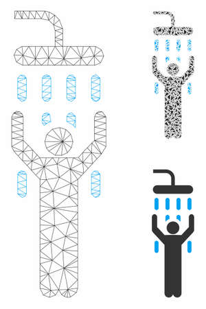 Mesh man under shower model with triangle mosaic icon. Wire carcass polygonal mesh of man under shower. Vector mosaic of triangle parts in different sizes, and color tinges.