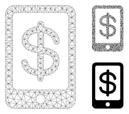 Mesh mobile payment model with triangle mosaic icon. Wire frame triangular mesh of mobile payment. Vector composition of triangle elements in different sizes, and color hues.