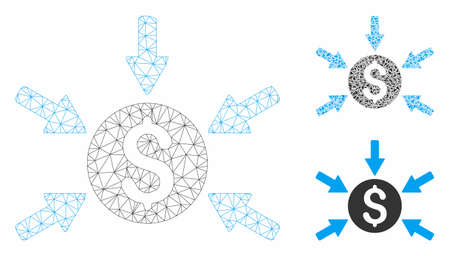 Mesh money income model with triangle mosaic icon. Wire carcass polygonal network of money income. Vector mosaic of triangle elements in variable sizes, and color hues. Ilustração