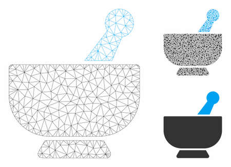 Mesh mortar model with triangle mosaic icon. Wire carcass triangular mesh of mortar. Vector composition of triangle elements in variable sizes, and color hues. Abstract flat mesh mortar,