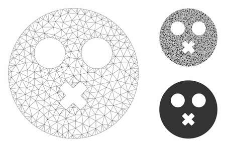 Mesh mute smiley model with triangle mosaic icon. Wire carcass polygonal mesh of mute smiley. Vector mosaic of triangle elements in variable sizes, and color tinges. Abstract flat mesh mute smiley,