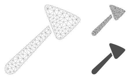 Mesh neurologist hammer model with triangle mosaic icon. Wire frame triangular mesh of neurologist hammer. Vector collage of triangle elements in different sizes, and color shades.