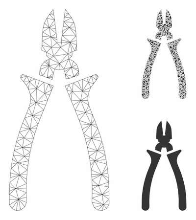 Mesh nippers model with triangle mosaic icon. Wire frame polygonal mesh of nippers. Vector collage of triangle parts in various sizes, and color shades. Abstract 2d mesh nippers,