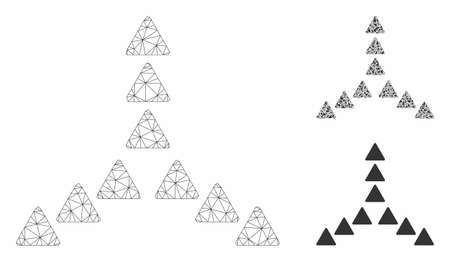 Mesh outside direction triangles model with triangle mosaic icon. Wire carcass polygonal mesh of outside direction triangles. Vector composition of triangle elements in different sizes,