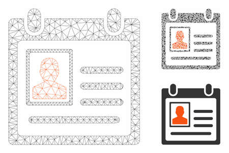 Mesh personal badge model with triangle mosaic icon. Wire carcass polygonal mesh of personal badge. Vector mosaic of triangle parts in various sizes, and color tones.