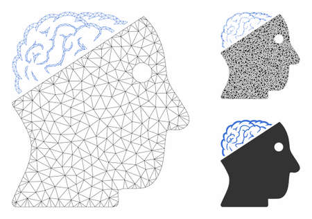 Mesh open brain model with triangle mosaic icon. Wire frame polygonal mesh of open brain. Vector mosaic of triangle parts in different sizes, and color tints. Abstract flat mesh open brain,