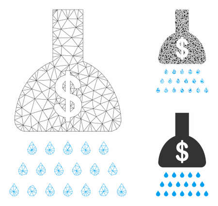 Mesh payment shower model with triangle mosaic icon. Wire carcass triangular mesh of payment shower. Vector composition of triangle parts in different sizes, and color tinges.