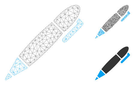 Mesh pen model with triangle mosaic icon. Wire carcass triangular mesh of pen. Vector mosaic of triangle parts in variable sizes, and color tinges. Abstract flat mesh pen, built from triangular grid. 일러스트