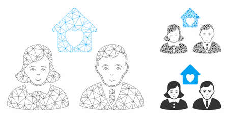 Mesh people marriage model with triangle mosaic icon. Wire carcass triangular mesh of people marriage. Vector composition of triangle elements in various sizes, and color shades.