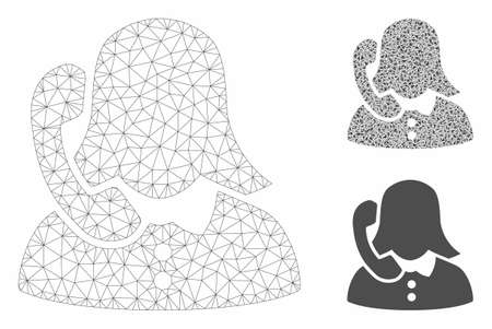 Mesh phone support model with triangle mosaic icon. Wire carcass polygonal mesh of phone support. Vector mosaic of triangles in various sizes, and color tones. Abstract flat mesh phone support, Stock Illustratie