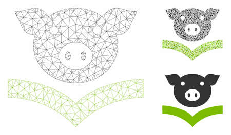 Mesh pig knowledge model with triangle mosaic icon. Wire frame polygonal mesh of pig knowledge. Vector mosaic of triangle elements in various sizes, and color shades. Abstract flat mesh pig knowledge,