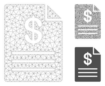 Mesh price list model with triangle mosaic icon. Wire carcass polygonal mesh of price list. Vector mosaic of triangle elements in variable sizes, and color tinges. Abstract flat mesh price list,