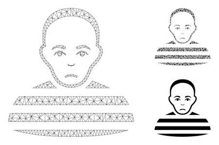 Mesh prisoner model with triangle mosaic icon. Wire frame triangular mesh of prisoner. Vector mosaic of triangle parts in variable sizes, and color tones. Abstract 2d mesh prisoner,