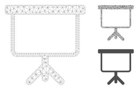 Mesh projection board model with triangle mosaic icon. Wire frame triangular mesh of projection board. Vector mosaic of triangle parts in different sizes, and color tints.