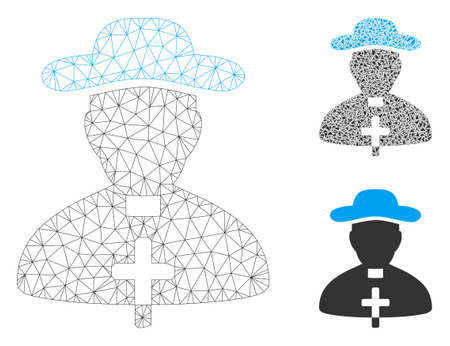 Mesh priest model with triangle mosaic icon. Wire frame polygonal network of priest. Vector mosaic of triangle parts in variable sizes, and color hues. Abstract 2d mesh priest,