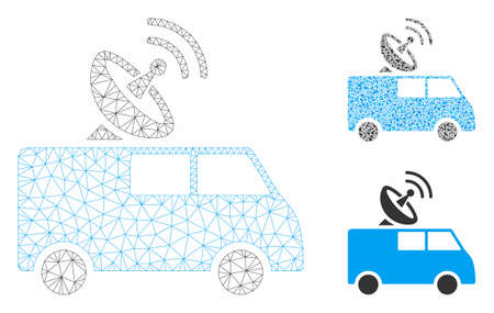 Mesh radio control car model with triangle mosaic icon. Wire frame polygonal network of radio control car. Vector mosaic of triangle elements in different sizes, and color tints. Stock Illustratie