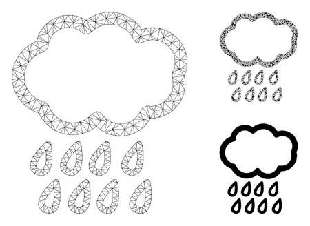 Mesh rain model with triangle mosaic icon. Wire carcass triangular mesh of rain. Vector mosaic of triangle elements in variable sizes, and color shades. Abstract flat mesh rain, Stock Vector - 129030701