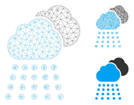 Mesh rain clouds model with triangle mosaic icon. Wire carcass triangular mesh of rain clouds. Vector mosaic of triangles in various sizes, and color shades. Abstract flat mesh rain clouds,
