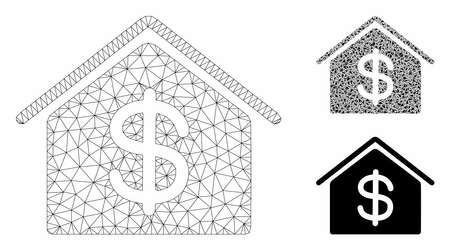 Mesh real estate model with triangle mosaic icon. Wire carcass triangular mesh of real estate. Vector composition of triangle parts in various sizes, and color hues. Abstract 2d mesh real estate,