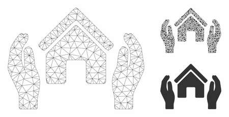 Mesh realty insurance hands model with triangle mosaic icon. Wire frame triangular mesh of realty insurance hands. Vector mosaic of triangle elements in different sizes, and color tints.