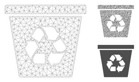 Mesh recycle bin model with triangle mosaic icon. Wire carcass triangular network of recycle bin. Vector mosaic of triangle elements in different sizes, and color tinges.