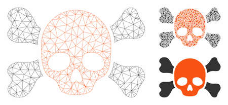 Mesh skull and bones model with triangle mosaic icon. Wire frame polygonal mesh of skull and bones. Vector collage of triangle elements in variable sizes, and color shades. 向量圖像