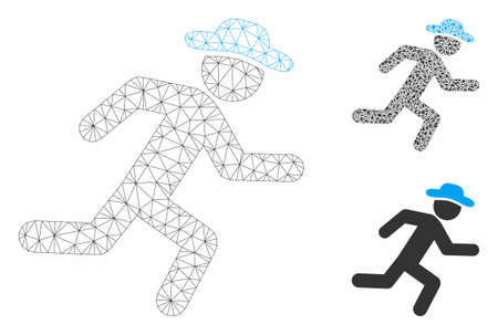 Mesh running gentleman model with triangle mosaic icon. Wire carcass polygonal network of running gentleman. Vector collage of triangle elements in different sizes, and color shades.